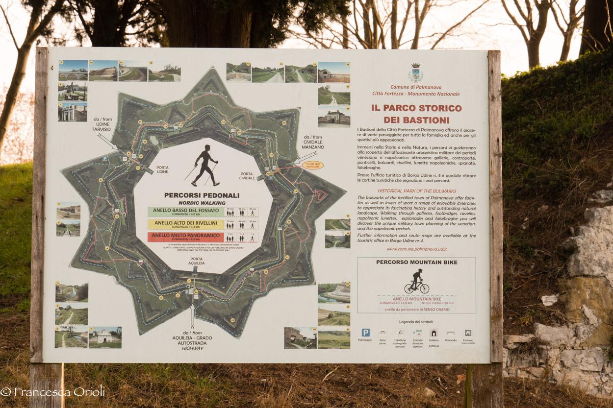 La mappa dei percorsi nel parco di Palmanova